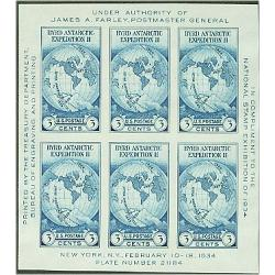 #735 Byrd Antarctic Expedition, Imperforate Souvenir Sheet of 6, Defects